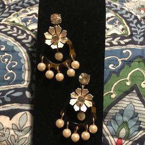 J Crew tortoise shell and faux pearl earrings
